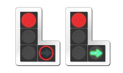 светофор с красным контуром